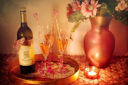 Navarro bottle beside three wine glasses on tray