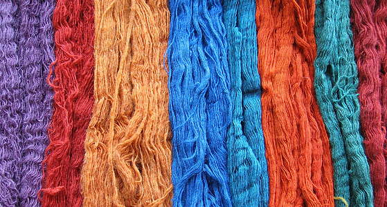 red, orange, and blue yarns