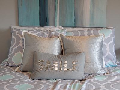 gray and teal quatrefoil comforter set