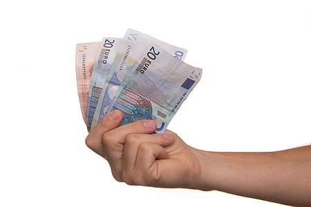 person holding 20 Euro banknote