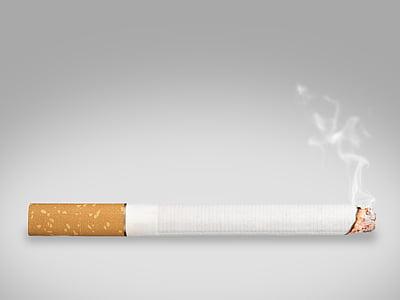 lighted single cigarette stick