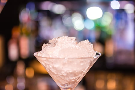 closeup photography of ice in martini glass