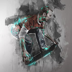 man playing skateboard graphic art