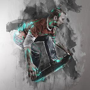 man playing skateboard graphic art