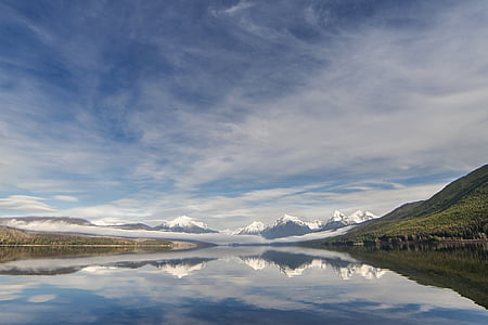 snow capped mountain with mirror reflection under white clouds during daytime