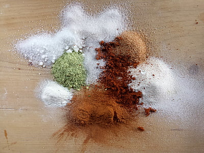 brown and white condiments
