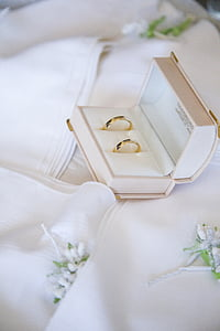 two gold-colored rings on box