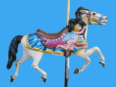 empty carousel horse