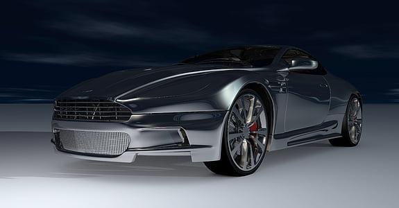 black Aston Martin sports coupe