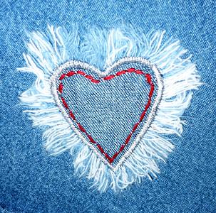 blue denim heart patch