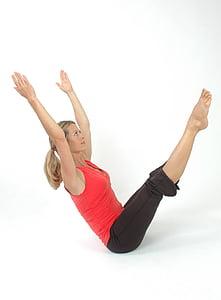 woman, pilates, yoga, girl, stretch, pose