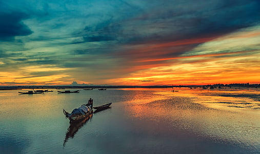 landscape photography of body of water during sunset