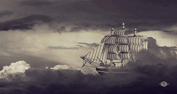 sailing ships on water