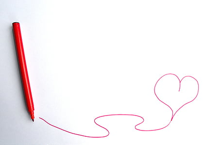 red heart line art using red pen