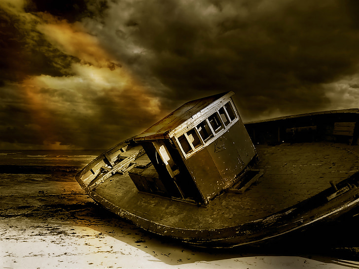 sepia photography of boat