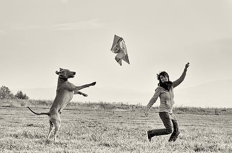 grayscale photography of running woman chasing by dog