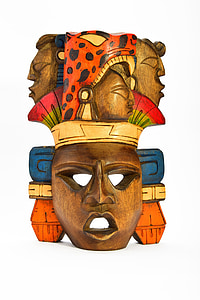 multicolored tribal wooden mask decor