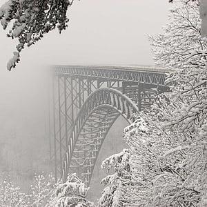 gray foggy bridge