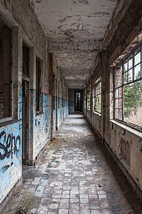 empty hallway of abandoned building