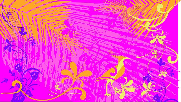pink and orange floral wallpaper