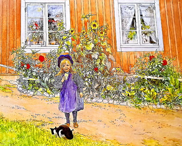 painting of girl and black cat outside house