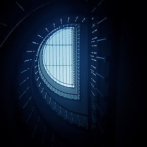closeup photo of spiral stairs