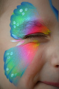 pink and green face paint