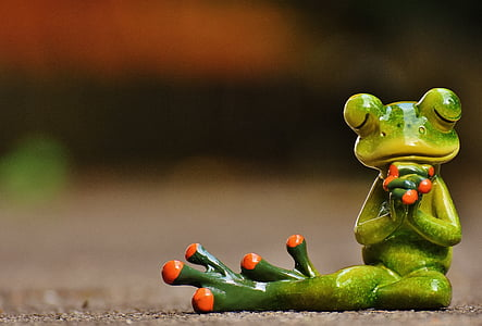 green and red frog figurine praying