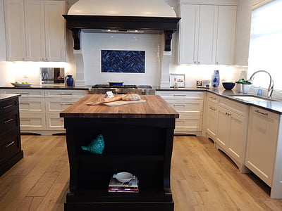 inside view of white kitchen hutch