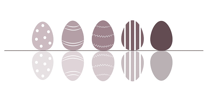 five assorted-color-and-pattern eggs illustration