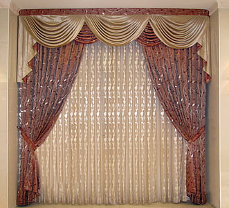 red and brown foliage window curtain inside room