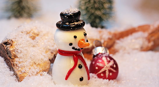 snowman and bauble figurines