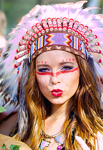 woman native american costume and makeup