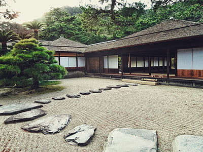 view of oriental house near tree