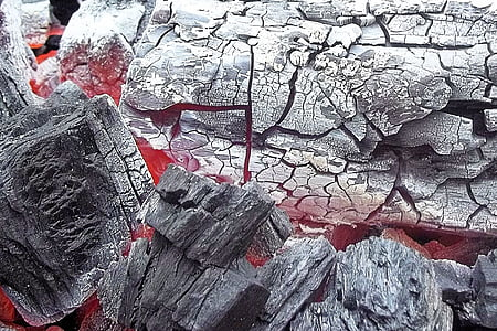 firewood coals turning to ashes close up photography