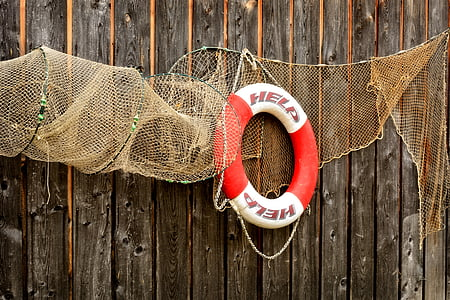 red and white lifebuoy hanged on wooden wall
