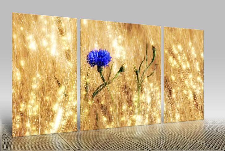 blue cornflower 3-panel painting