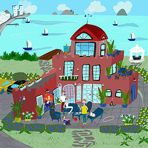 people in front on house near body of water illustration