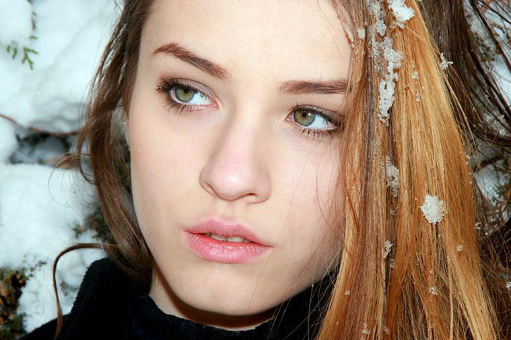 closeup view of woman's face