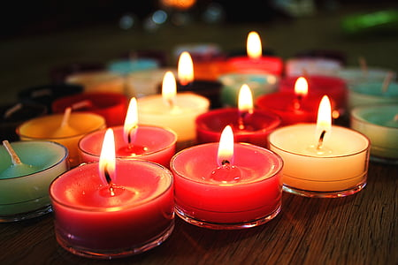 assorted-color lighted tealight candles