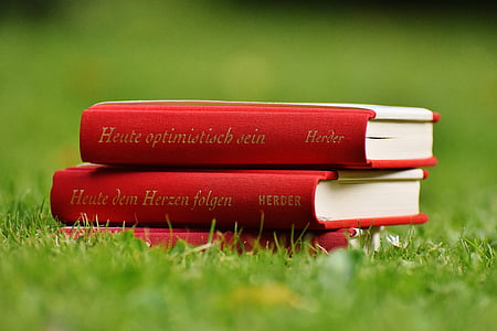 two red cover books on green gras