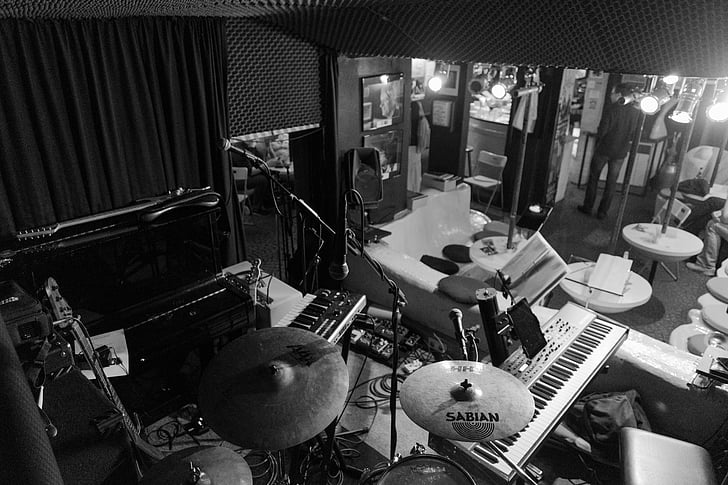 Royalty Free Photo Grayscale Photo Of Drum Set In Music Room Pickpik