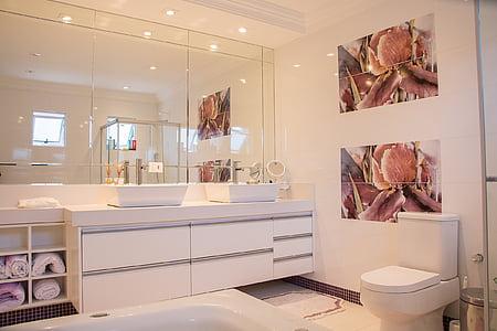 photo of white bathroom set
