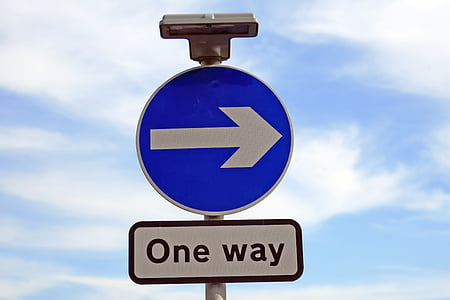 blue and white one way signage
