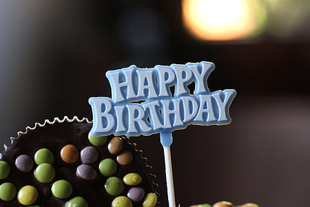 blue happy birthday greeting decoration