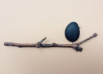 pebble and branch art