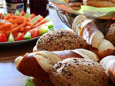 assorted bread on table