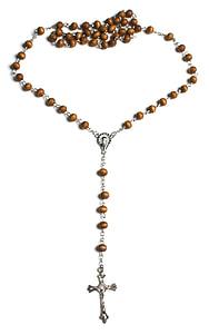 brown rosary prayer beads