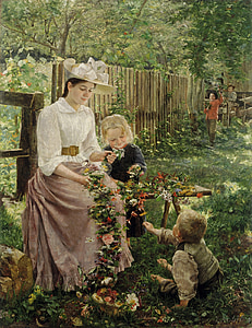 woman near girl and boy painting