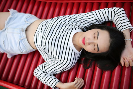 women's white and black striped crop top